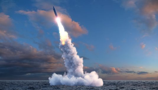 The launch of a ballistic missile from under water